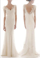 Wholesale Dream Evening Gown - Charming Dream Full Lace A-Line Graceful V-Neck Bridal Gown 1 2 Sleeve Evening Wedding Dresses