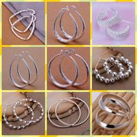 joyas de plata 925 anillos plateados al por mayor-mezclar 10 estilo 10 pares / lote joyería chapado en alta calidad 925 pendientes de aro del oído regalos de moda hipérbole gran anillo del oído