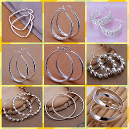 Wholesale Mix Earring Silver - mix 10 style 10pairs lot Jewelry high-quality plating 925 sterling silver Ear hoop earrings fashion gifts hyperbole big Ear ring