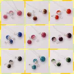 Wholesale Shamballa 925 Necklace Earrings - Hot sale Shamballa Jewelry Set Brand New Gradient CZ Disco Pave Crystal Ball Pendant Necklace+Stud Earrings+925 Silver Chain Mix Color