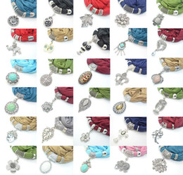 Wholesale Green Scarf Charm - 50pcs more The latest more than 30 stlye mix pendant scarf charms jewelry soft scarves necklace scarf women's shawl wrap