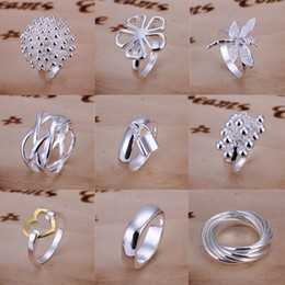 Wholesale Wholesale Vintage Style Rings - Good Selling 925 Sterling Silver Multi Styles Charms Rings Vintage Rings Size 7,8,9 Mixed 20pcs lot