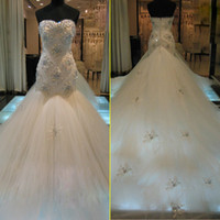 Wholesale shine wedding gown - New Custom Made Luxury Wedding Dresses Sweetheart Crystal Beads Shining Mermaid Cathedral Train Tulle Bridal Gowns Hot Sale 2016