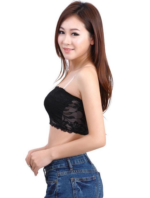 Full Lace Strapless Bra Tube Top Bandeau Wrap Bröst Vest Wrap Bröst