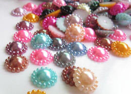 Wholesale Mixed Cellphone Cases - 200pcs Flatback 12mm Mixed Colors ABS Pearl Cabochons For Scrapbooking Craft Cellphone Case