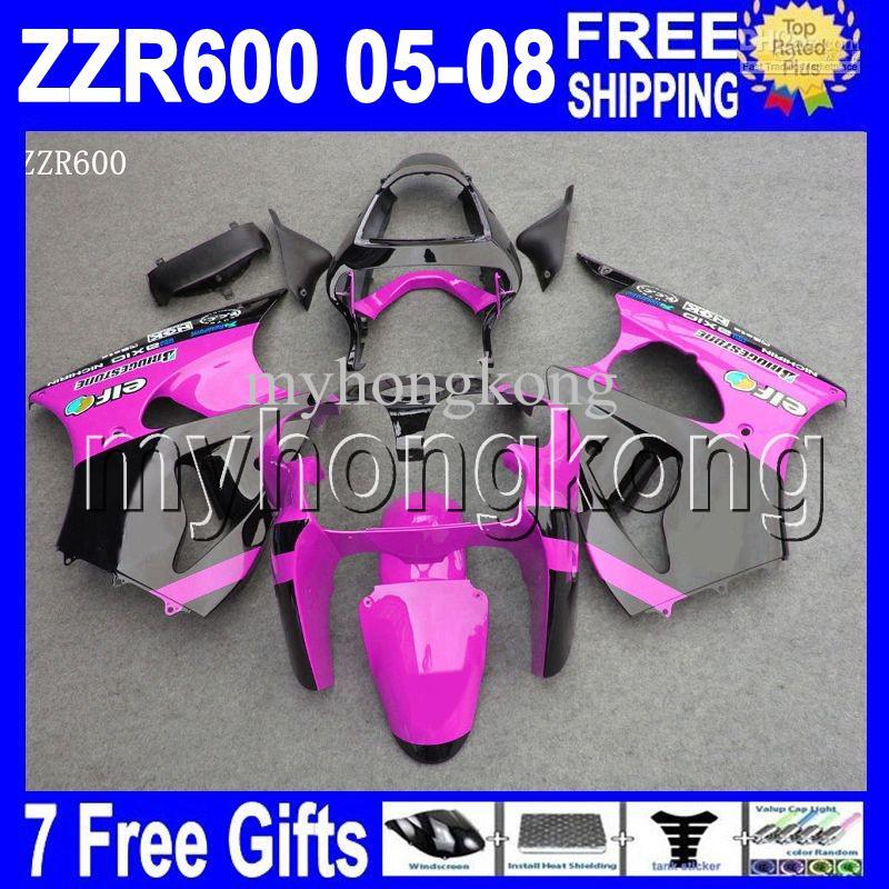 7Gifts Paars Zwart Custom Hot voor ZZR 600 Kawasaki 05 06 07 08 ZZR-600 MK # 1322 NIEUW PAARS - 2005 2006 2007 2008 ZZR600 6R VALERINGEN