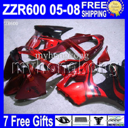 Wholesale Kawasaki Zzr Red - 7gifts Custom HOT Red flames black For ZZR 600 KAWASAKI NINJA ZZR-600 05 06 07 08 - ZZR600 red blk MK#1301 6R 2005 2006 2007 2008 Fairing
