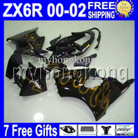 Wholesale Kawasaki Ninja Gold - 7gifts Free Custom HOT For 00 01 02 Golden flames KAWASAKI NINJA ZX-6R ZX636 ZX-636 ZX6R ZX 6R 636 MK#755 2000 2001 2002 gold black Fairing