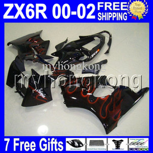 7gifts Orange flames Free Custom HOT For 00 01 02 KAWASAKI NINJA ZX-6R ZX636 ZX-636 ZX6R NEW Black ZX 6R 636 MK#754 2000 2001 2002 Fairing