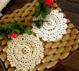 Wholesale Ecru Crochet Doily Mat - Free shipping Handmade Crochet 100% Cotton Lace Round Ecru Cup Coaster mat pad Doily 12CM