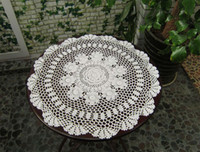 Wholesale Doilies Tablecloth - 55CM Cotton crochet fabric Ecru round table mat tablecloth lace design placemat Doilies Decoration Free Shipping