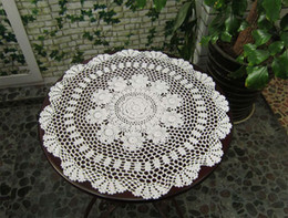 Wholesale Doily Cotton - 55CM Cotton crochet fabric Ecru round table mat tablecloth lace design placemat Doilies Decoration Free Shipping