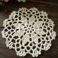 Wholesale Ecru Crochet Doily Mat - Free shipping wholesale hand made Lace Crochet cup mat, cotton Ecru Doily ,cup pad,coaster ,crochet applique 10CM, 30Pcs Lot