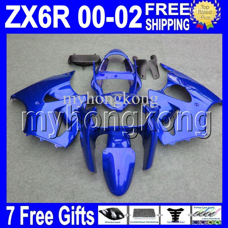 7Gifts Gratis Custom Hot All Gloss Blauw voor Kawasaki 00 01 02 ZX-6R ZX636 MK # 740 ZX-636 2000 2001 2002 ZX6R ZX 6R FACEERS DONKER BLAUW