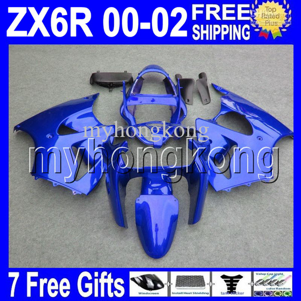 7gifts Free Custom HOT ALL Gloss blu Per KAWASAKI 00 01 02 NINJA ZX-6R ZX636 MK # 740 ZX-636 2000 2001 2002 ZX6R ZX 6R Carenature blu scuro