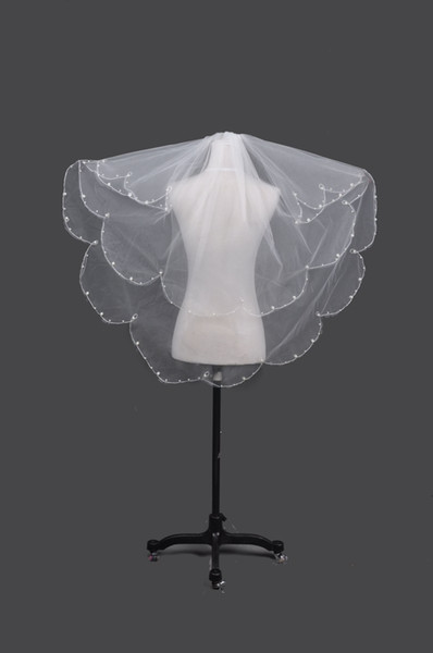 Stok Büyük Indirim !! 2013 Bridefashion Inci 2 Katmanlı Güzel Fırfır Tül Düğün Gelin Peçe