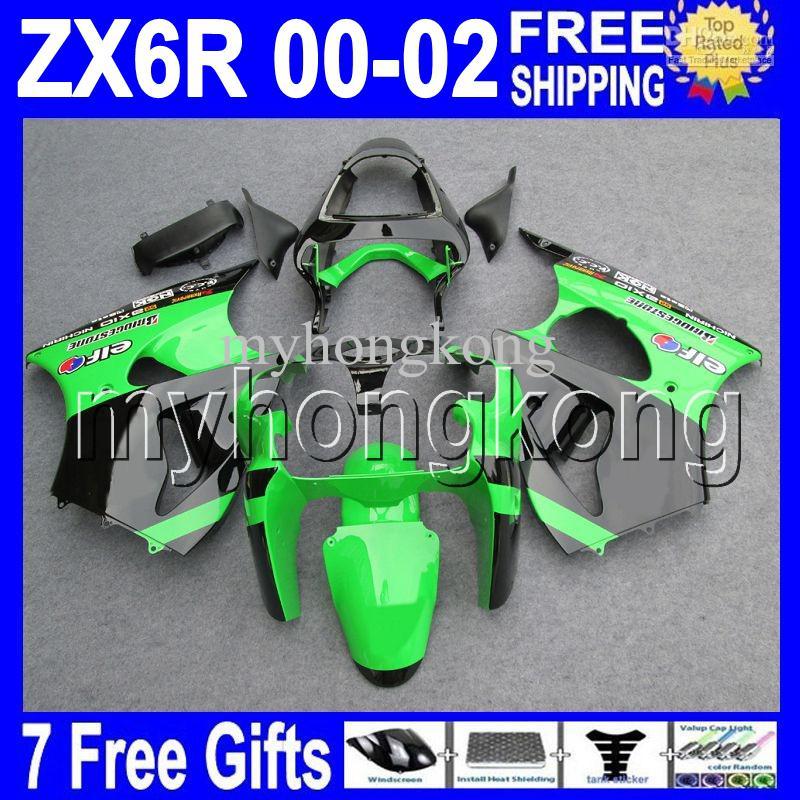 Groen Zwart 7Gifts Gratis Custom Hot voor Kawasaki 00 01 02 ZX-6R ZX636 Hot Green MK # 721 ZX-636 2000 2001 2002 ZX6R ZX 6R 636 Valerijen