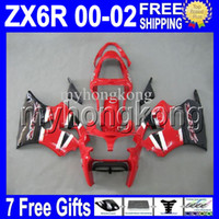 Wholesale red white zx6r fairing - 7gifts Free Custom HOT red white black For KAWASAKI NINJA ZX-6R 00 01 02 ZX636 ZX-636 ZX6R Hot red MK#715 ZX 6R 636 2000 2001 2002 Fairing