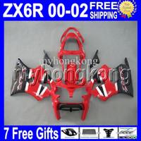 zx6r personalizado al por mayor-7gifts Free Custom HOT rojo blanco negro Para KAWASAKI NINJA ZX-6R 00 01 02 ZX636 ZX-636 ZX6R Rojo caliente MK # 715 ZX 6R 636 2000 2001 2002 Carenado