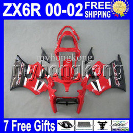 Wholesale Kawasaki Ninja White Red - 7gifts Free Custom HOT red white black For KAWASAKI NINJA ZX-6R 00 01 02 ZX636 ZX-636 ZX6R Hot red MK#715 ZX 6R 636 2000 2001 2002 Fairing