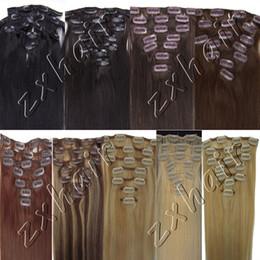 "Wholesale Chinese Human Hair Clip - 20"" 7pcs set Clip hair Remy Human Hair Extension#01#1b#02#04#06#08"