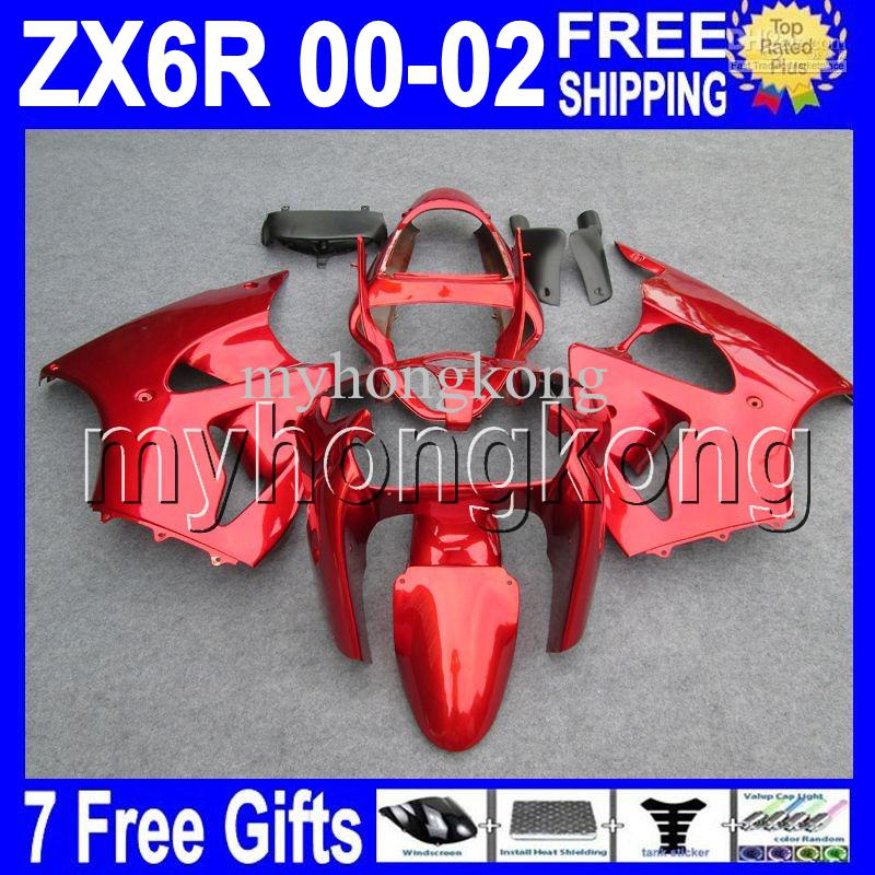 7Gifts Gratis Custom Hot All Red For Kawasaki ZX-6R 00 01 02 ZX636 ZX-636 ZX6R MK # 709 All Gloss Red ZX 6R 636 2000 2001 2002 Kuip