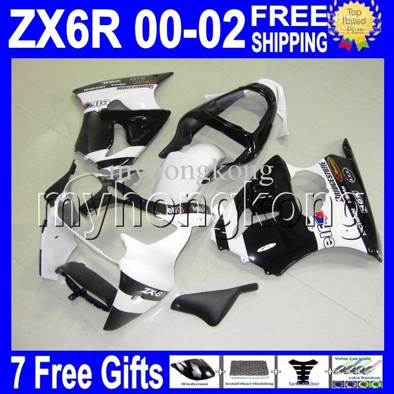 7Gifts Zwart Wit Gratis Custom Hot voor Kawasaki ZX-6R 00 01 02 ZX636 ZX-636 ZX6R MK # 707 White Black ZX 6R 636 2000 2001 2002 Kuip