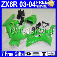 Wholesale Kawasaki Ninja 636 Fairings - 7gifts Factory green Free Custom ! For KAWASAKI NINJA ZX-6R ZX636 03 04 MK#807 ZX-636 ZX6R ZX 6R 636 2003 2004 green bodywork Fairing Kit