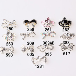 Wholesale Nail Bows Dangle - Nail Art Supplies Nail Art Rhinestone 50pcs lot Big Size Nail Tips Dangle Jewelry Nail Art Decoration 3d Nail Bows Decoration Metal Nail