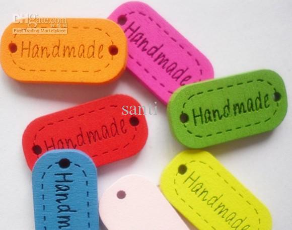 Gemengd gekleurde tekening patroon handgemaakte logo laser ovale houten knop naaien knoppen