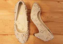 Wholesale Ivory Girl Shoes For Wedding - Fashion Shoes for Party ceremony Imitation Pearl Wedding Bridal Shoes low heel 3cm lady shoes Handmade Girl Formal Dress Shoes Free Shipping