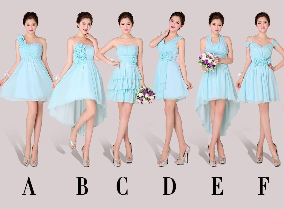 6 Mixed Styles Beach Wedding Bridesmaid Dresses Short Or Knee