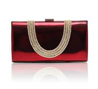 Wholesale velvet banquet - Wine red Temperament Top Grade Women's Diamond Rhinestone Velvet clutch bags handbag purse evening bag banquet Bags 12030
