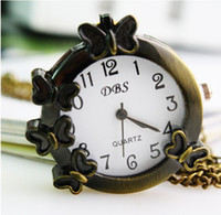 Fashion Gift Pocket Watches Bronze Color Colock Avec Collier Butterflies Montre Buckle De Collier DHL Free Shipping