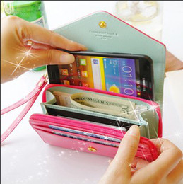 Wholesale Crown Pouch Flip - PU Leather Flip crown smart pouch Cover phone case mobile phone bag card case pu wallet for iphone4 4s iphone 5 5g Samgusng S3 s2