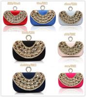Wholesale Ring Rhinestone Clutch - Temperament Top Grade Women's Diamond Rhinestone Velvet Ring clutch bags handbag purse evening bag banquet Bags 9 color 12026