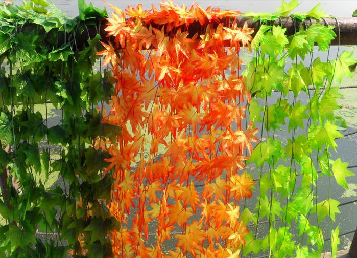 Silk Leaf Rattans Yellow/Orange Artificial Silk Flowers Rattan Small Maple Leaf Vine Fortune Leaves Plastic Wreaths