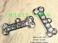Wholesale Dog Collar Hanging Charms - 100pcs rhinestone dog bone hang pendant charms NO:0095