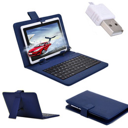 Wholesale Leather Kindle Keyboard Covers - Universal USB Keyboard PU Leather Case Cover Stand For 7 inch Tablet Galaxy Tab P3100 For Nexus 7 For Kindle Fire Tablet