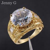18k sarı altın safir halka toptan satış-Erkek Büyük Yuvarlak Elmas Simüle Beyaz Safir Taş 18 K Sarı Altın Dolgulu Mücevher Yüzük Erkekler için Güzel Hediye
