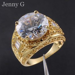 Wholesale Nice Wedding Rings For Men - Men's Big Round Diamond Simulated White Sapphire Gemstone 18K Yellow Gold Filled Gem Ring for Men Nice Gift