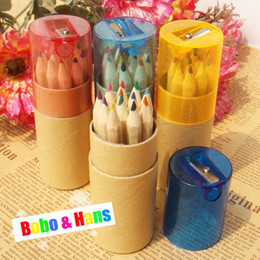 Wholesale Colored Wooden Boxes - Free Shipping  New cute12 pcs box Wooden colored Pencil   with Kraft paper box and Pencil sharpener   Wholesale