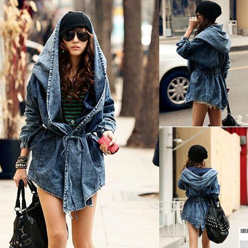 New Women Denim Coat Hoodie Hooded Outerwear Jean Jacket D0007 ...