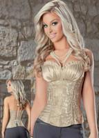 Wholesale Damask Corset - Sexy Lingerie Corsets for Women Overbust Damask Print Satin Bustier Top Corset 2 Pieces S-6XL Plus Size