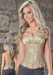 Wholesale Damask Satin - Sexy Lingerie Corsets for Women Overbust Damask Print Satin Bustier Top Corset 2 Pieces S-6XL Plus Size