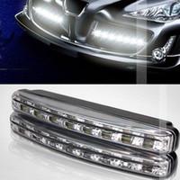 12v sis farları açtı toptan satış-Yüksek kaliteli Su Geçirmez 8 LED Gündüz Çalışan Işık IP65 E4 LED DRL Sis araba ışıkları 1 yıl garanti ücretsiz kargo