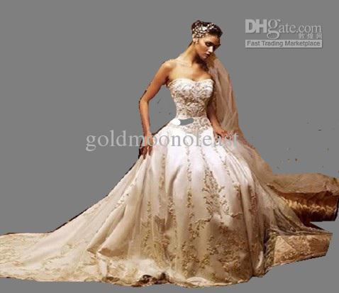 Beautiful Ivory dress gold embroidery sweetheart A-line Wedding ...