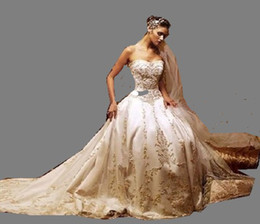Wholesale Coloured Organza Wedding Dress - Beautiful Ivory dress gold embroidery sweetheart A-line Wedding dress Gown Any Size and colour