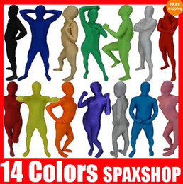 sexy halloween costume spandex body suit Canada - Free Shipping NEW 14 Solid Colors Zentai Full Body Lycra Spandex Suit Catsuit Party Harlem Shake Halloween Adult Costumes 6 Size