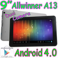 Wholesale Cheap Tablet Pc A13 - 40pcs Cheap 9 Inch Allwinner A13 Android 4.0 Boxchip 1.2GHZ 512MB 8GB Tablet PC Dual Camera Capacitive Multi Touch Screen Play Store WIFI